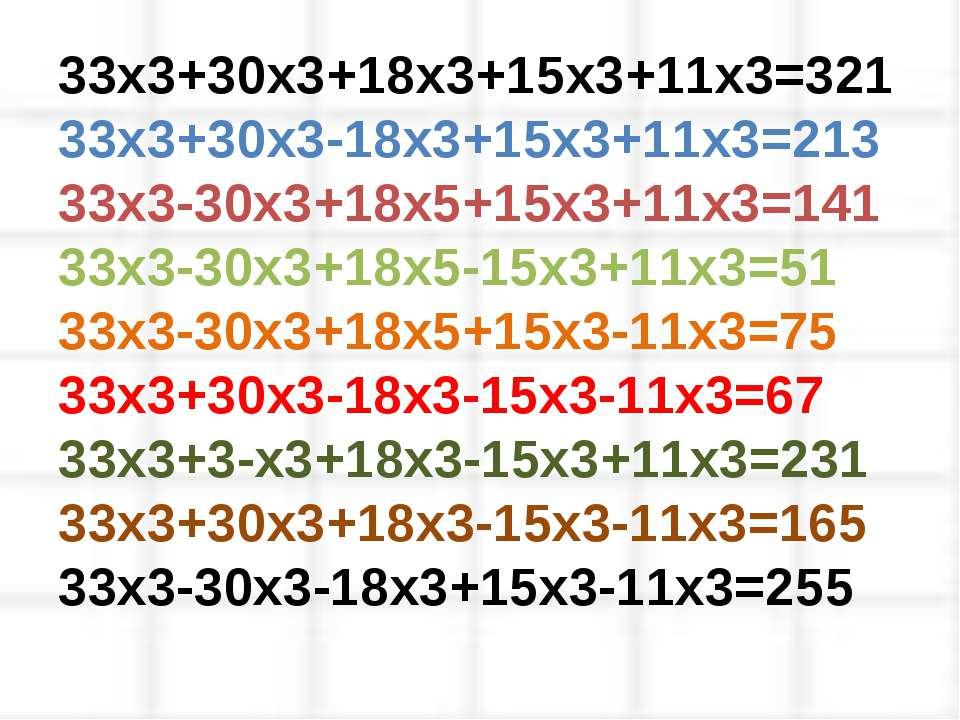 33х3+30х3+18х3+15х3+11х3=321 33х3+30х3-18х3+15х3+11х3=213 33х3-30х3+18х5+15х3...