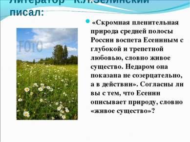 Литератор К.Л.Зелинский писал: «Скромная пленительная природа средней полосы ...