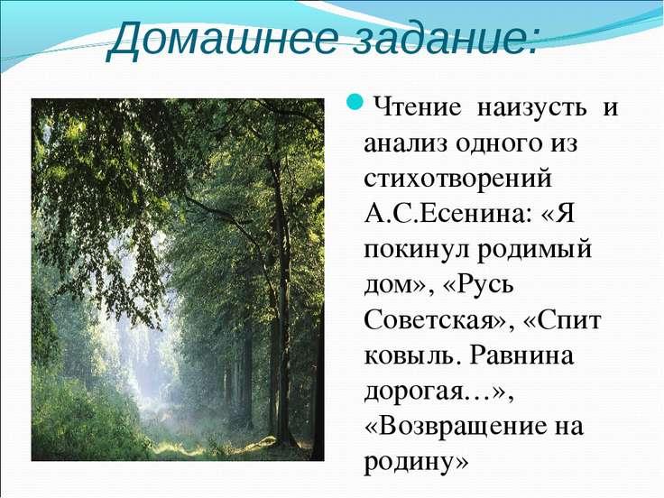 Домашнее задание: Чтение наизусть и анализ одного из стихотворений А.С.Есенин...