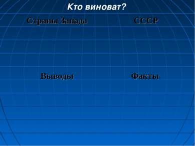 Кто виноват? Страны Запада СССР Выводы Факты