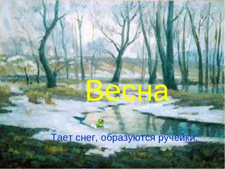 Весна Тает снег, образуются ручейки.