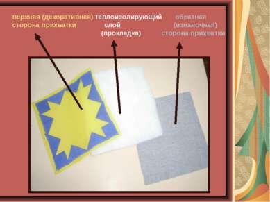 верхняя (декоративная) теплоизолирующий обратная сторона прихватки слой (изна...