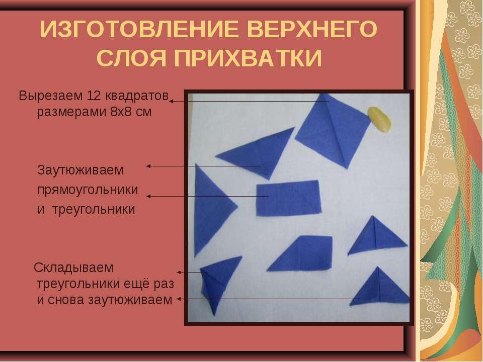 ИЗГОТОВЛЕНИЕ ВЕРХНЕГО СЛОЯ ПРИХВАТКИ Вырезаем 12 квадратов размерами 8х8 см З...