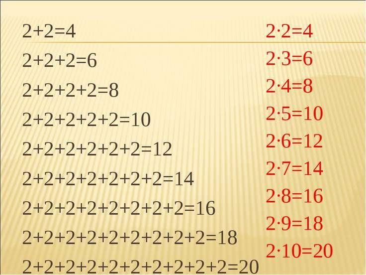 2+2=4 2+2+2=6 2+2+2+2=8 2+2+2+2+2=10 2+2+2+2+2+2=12 2+2+2+2+2+2+2=14 2+2+2+2+...