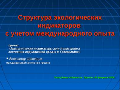 Структура экологических индикаторов с учетом международного опыта Александр Ш...