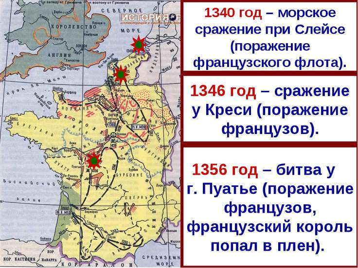 1346 год – сражение у Креси (поражение французов). 1356 год – битва у г. Пуат...