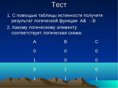 Тест 1. С помощью таблицы истинности получите результат логической функции A&...