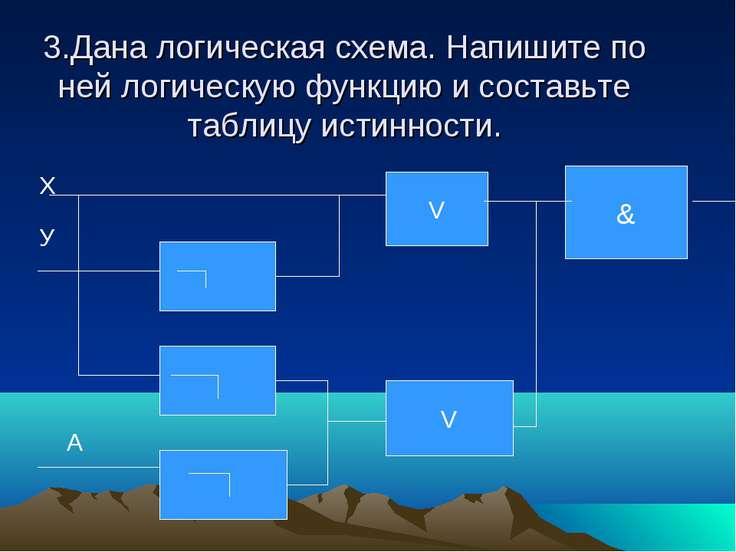 3.Дана логическая схема. Напишите по ней логическую функцию и составьте табли...