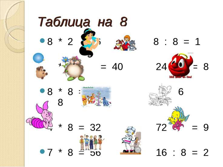 Таблица на 8 8 * 2 = 16 8 : 8 = 1 5 * 8 = 40 24 : 3 = 8 8 * 8 = 64 48 : 6 = 8...