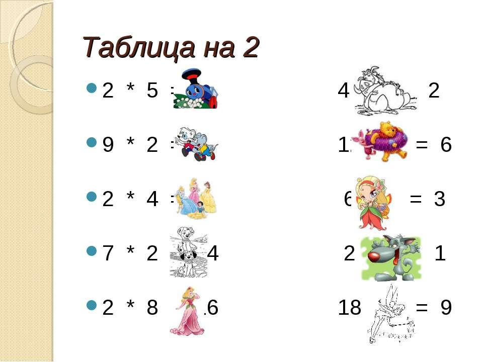 Таблица на 2 2 * 5 = 10 4 : 2 = 2 9 * 2 = 18 12 : 2 = 6 2 * 4 = 8 6 : 2 = 3 7...