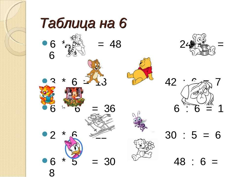 Таблица на 6 6 * 8 = 48 24 : 4 = 6 3 * 6 = 18 42 : 6 = 7 6 * 6 = 36 6 : 6 = 1...