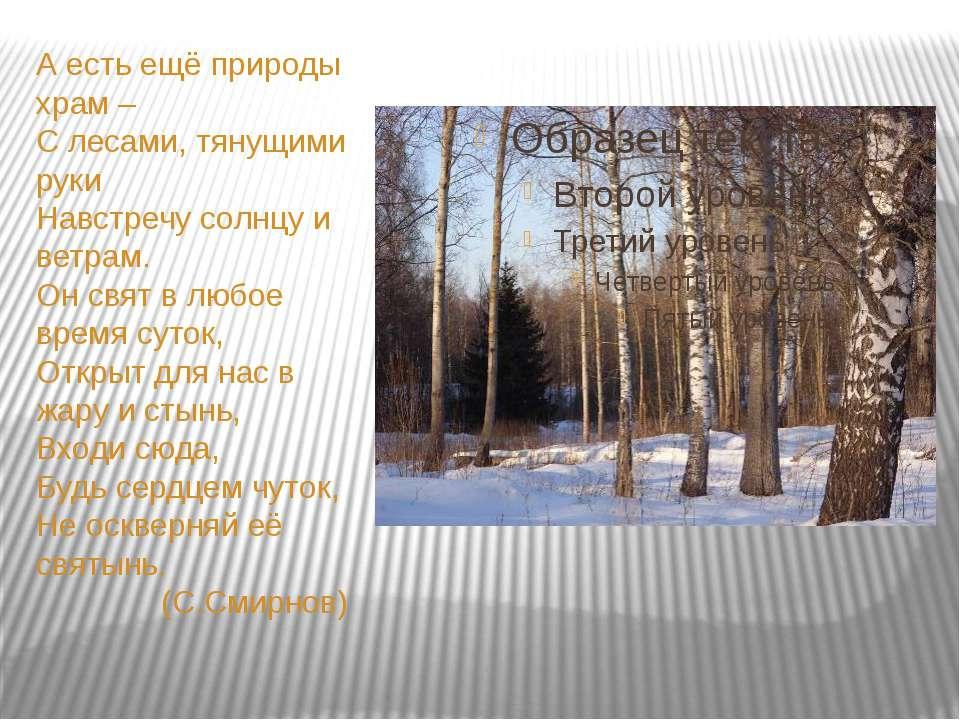 А есть ещё природы храм – С лесами, тянущими руки Навстречу солнцу и ветрам. ...