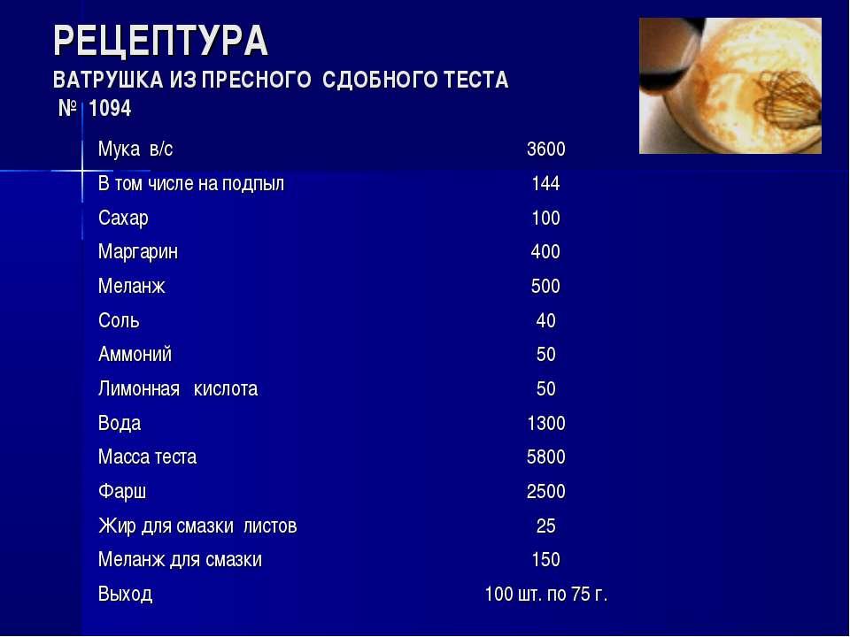 РЕЦЕПТУРА ВАТРУШКА ИЗ ПРЕСНОГО СДОБНОГО ТЕСТА № 1094 Мука в/с 3600 В том числ...