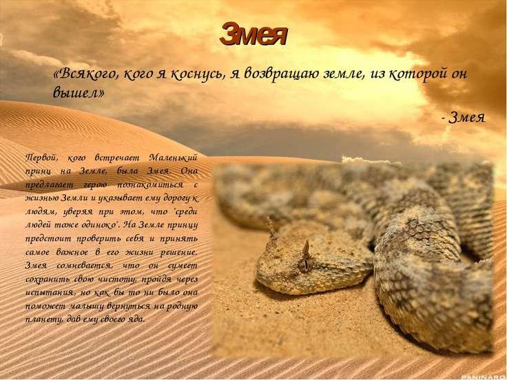 «Всякого, кого я коснусь, я возвращаю земле, из которой он вышел» - Змея Змея...