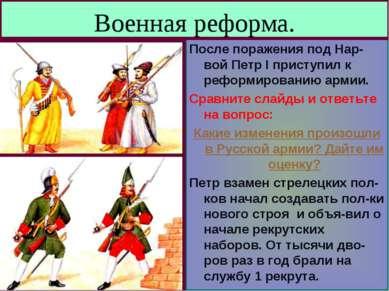 Военная реформа. После поражения под Нар-вой Петр I приступил к реформировани...
