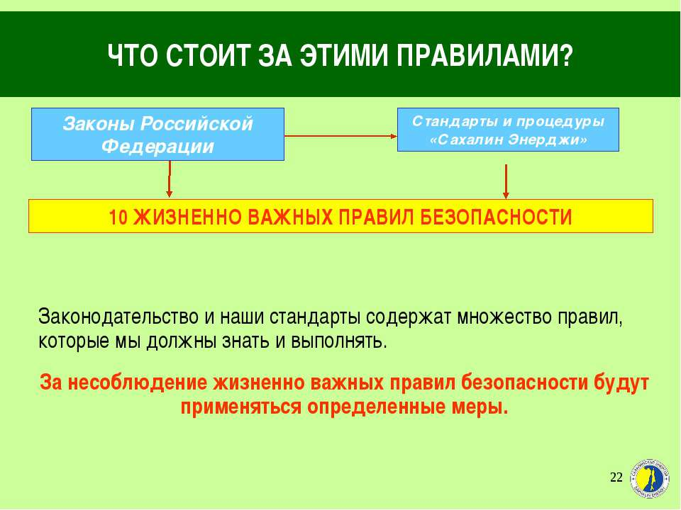 * ЧТО СТОИТ ЗА ЭТИМИ ПРАВИЛАМИ? Законы Российской Федерации Стандарты и проце...