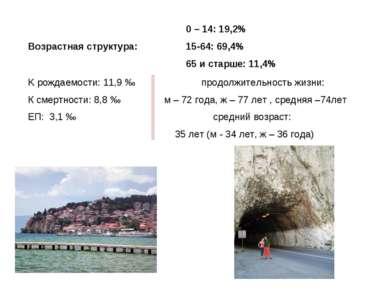 Возрастная структура: 0 – 14: 19,2% 15-64: 69,4% 65 и старше: 11,4% K рождаем...