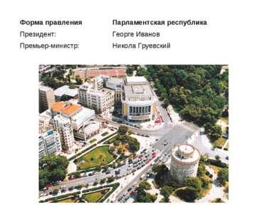 Форма правления Парламентская республика Президент: Премьер-министр: Георге И...