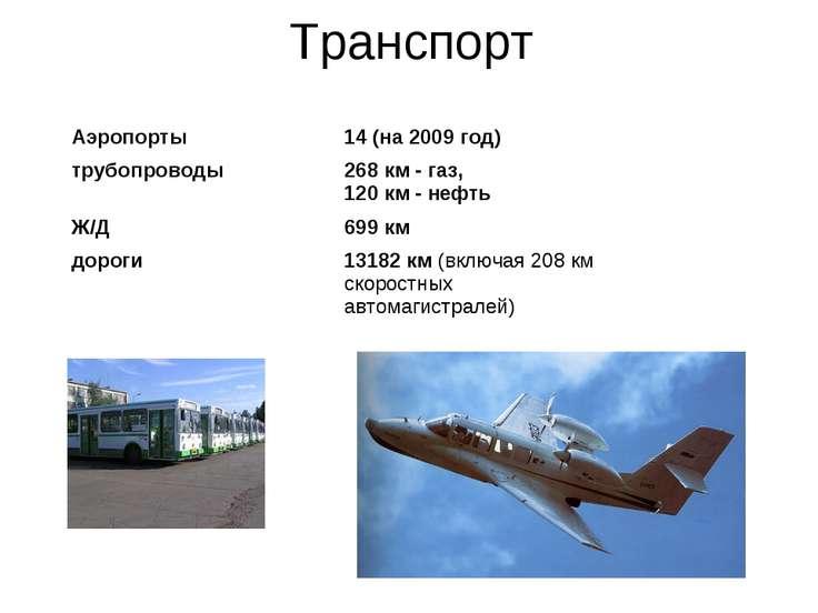 Транспорт Аэропорты 14 (на 2009 год) трубопроводы 268 км - газ, 120 км - нефт...