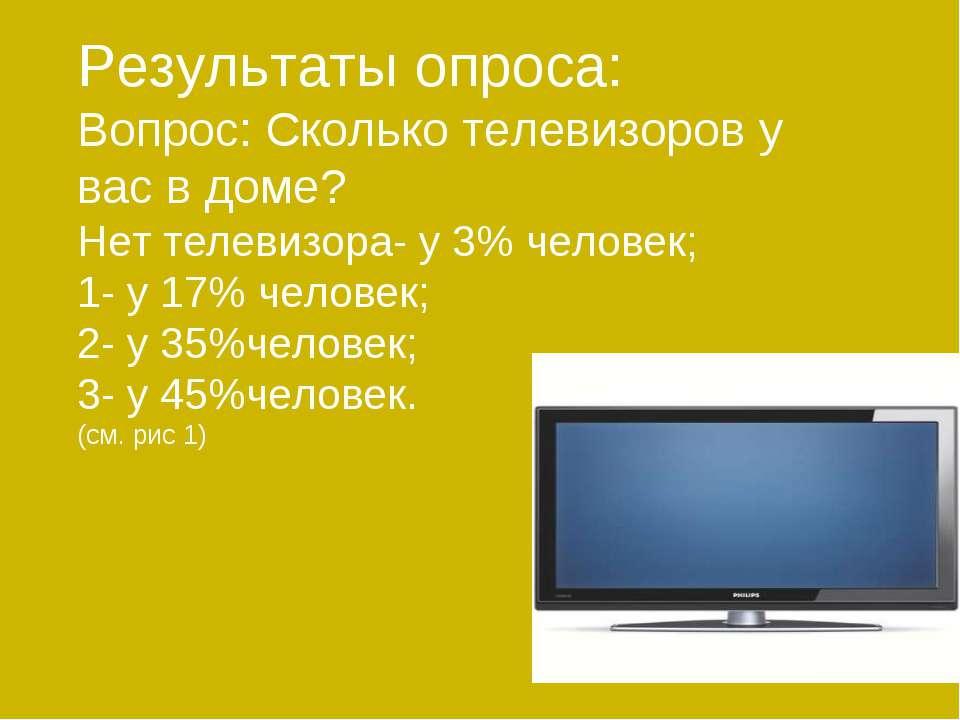 Результаты опроса: Вопрос: Сколько телевизоров у вас в доме? Нет телевизора- ...