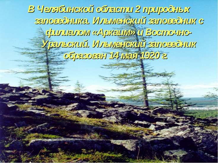 В Челябинской области 2 природных заповедника. Ильменский заповедник с филиал...