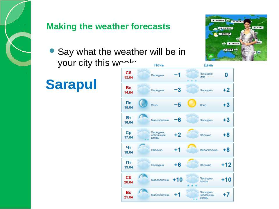 Making the weather forecasts Say what the weather will be in your city this w...