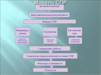 Целевой компонент Виды социально-педагогической работы Формы СПР Индивидуальн...