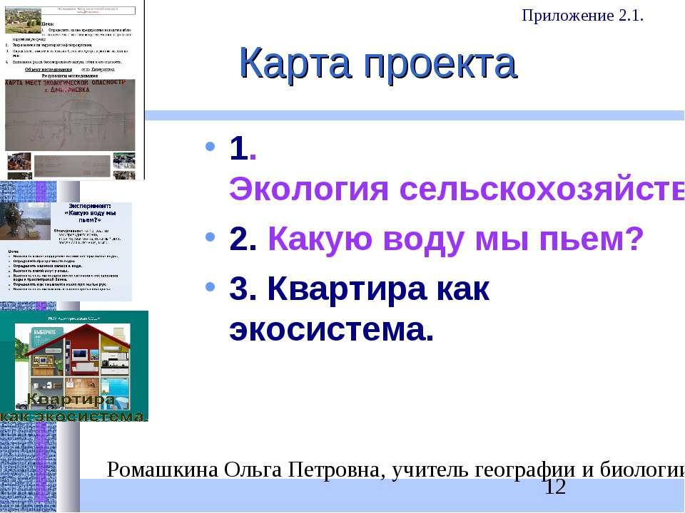 Карта проекта 1. Экология сельскохозяйственных районов. Деревня опасная и без...