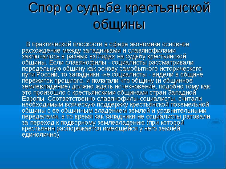Спор о судьбе крестьянской общины В практической плоскости в сфере экономики ...