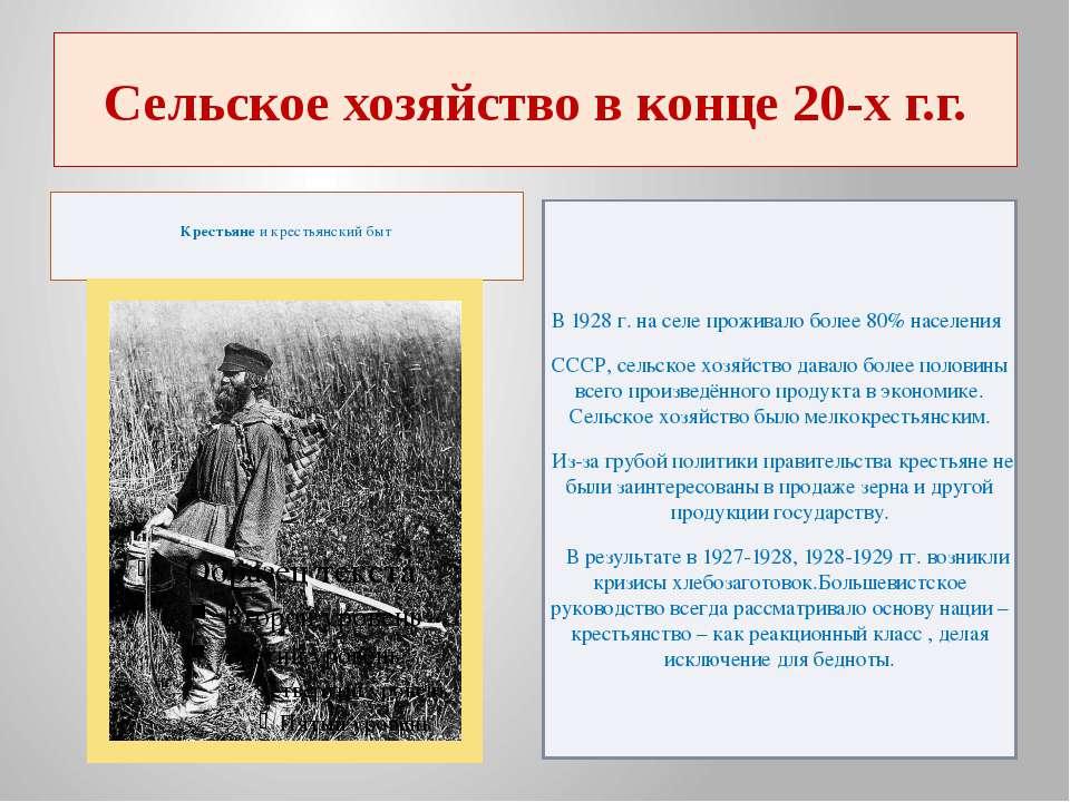 Сельское хозяйство в конце 20-х г.г. Крестьянеи крестьянский быт В 1928 г. н...