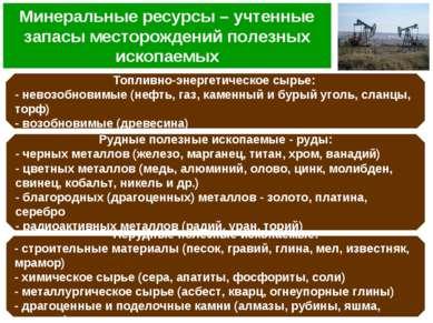 Минеральные ресурсы – учтенные запасы месторождений полезных ископаемых Топли...
