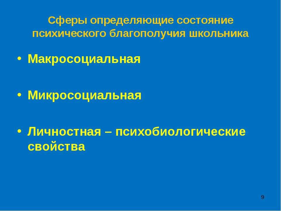 * Сферы определяющие состояние психического благополучия школьника Макросоциа...