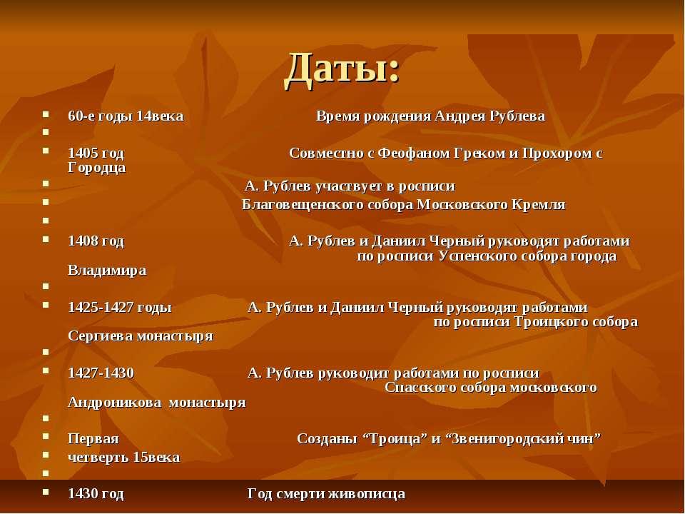 Даты: 60-е годы 14века Время рождения Андрея Рублева 1405 год Совместно с Фео...