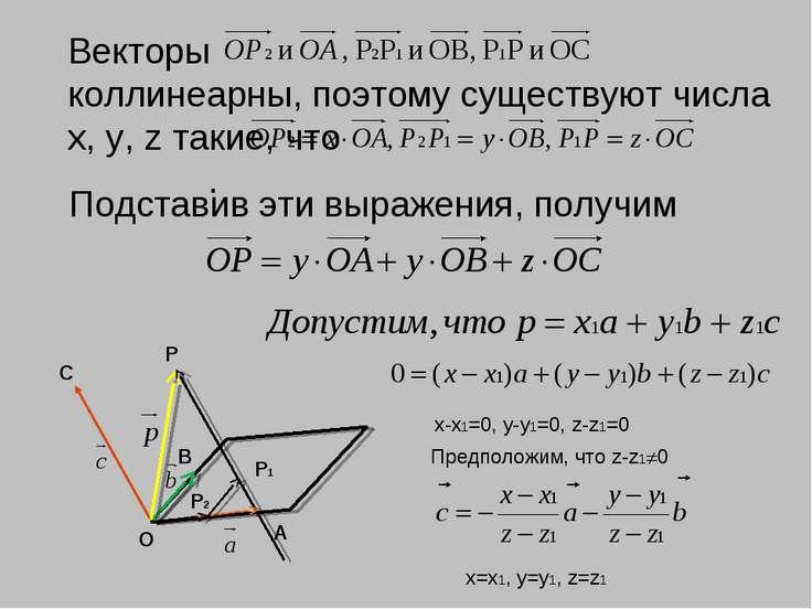 Векторы коллинеарны, поэтому существуют числа х, у, z такие, что . С В А О P ...