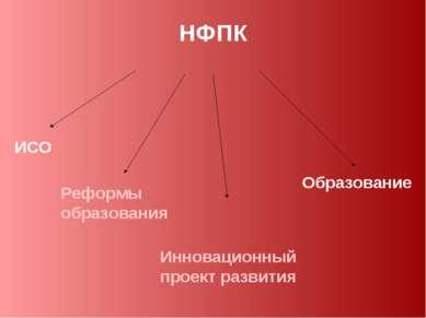 НФПК ИСО Образование Реформы образования Инновационный проект развития