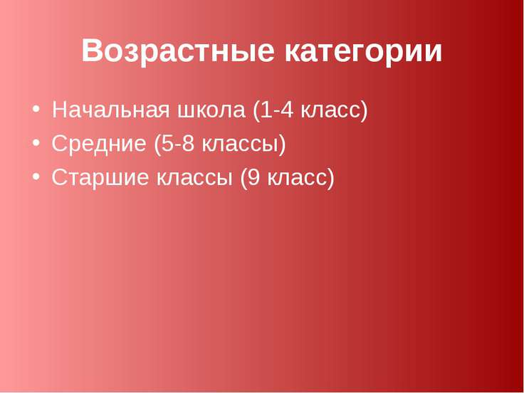 Возрастные категории Начальная школа (1-4 класс) Средние (5-8 классы) Старшие...