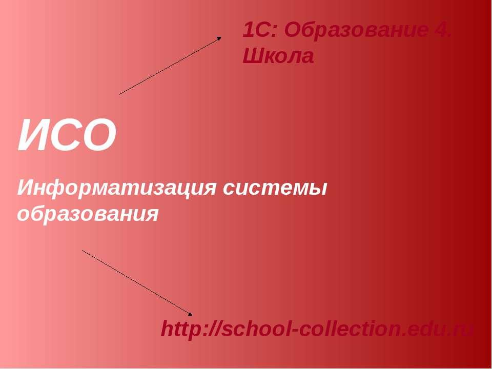 ИСО Информатизация системы образования 1С: Образование 4. Школа http://school...