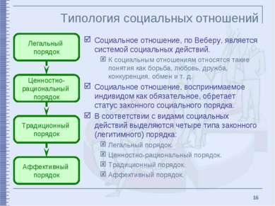 * Типология социальных отношений Социальное отношение, по Веберу, является си...