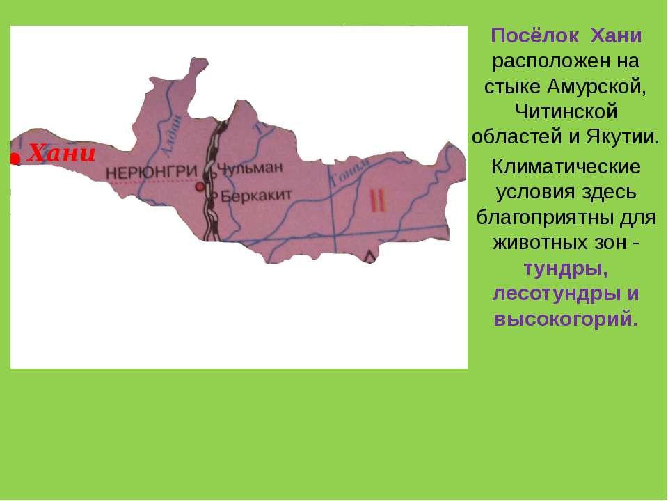 Посёлок Хани расположен на стыке Амурской, Читинской областей и Якутии. Клима...