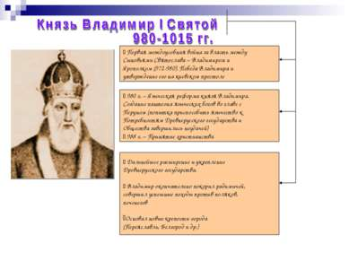 *Первая междоусобная война за власть между Сыновьями Святослава – Владимиром ...