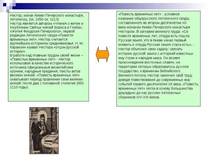 Нестор, монах Киево-Печерского монастыря, летописец. (ок. 1050-ок. 1113) Нест...