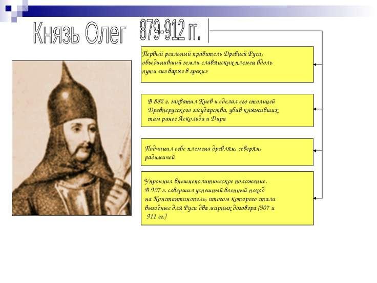 В 882 г. захватил Киев и сделал его столицей Древнерусского государства, убив...