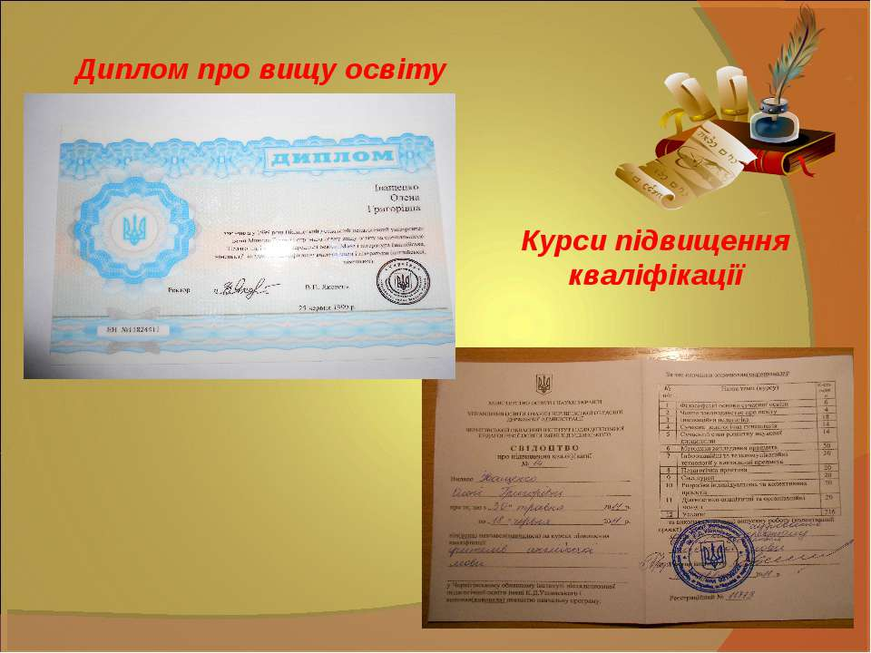 Диплом про вищу освіту Курси підвищення кваліфікації