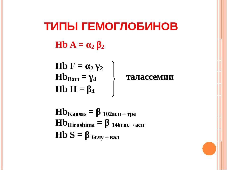 ТИПЫ ГЕМОГЛОБИНОВ