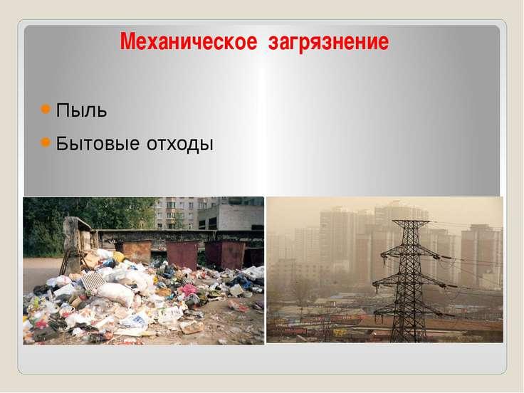 Механическое загрязнение Пыль Бытовые отходы