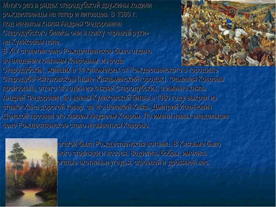 Много раз в рядах стародубской дружины ходили рождественцы на татар и литовце...