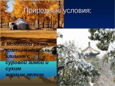 Природные условия: В Монголии резко континентальныйклиматс суровойзимойи ...