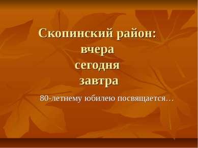 Скопинский район: вчера сегодня завтра 80-летнему юбилею посвящается…