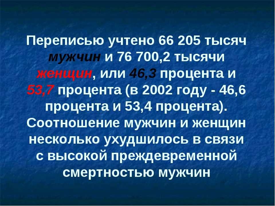 Переписью учтено 66 205 тысяч мужчин и 76 700,2 тысячи женщин, или 46,3 проце...