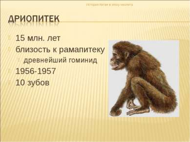 15 млн. лет близость к рамапитеку древнейший гоминид 1956-1957 10 зубов Истор...
